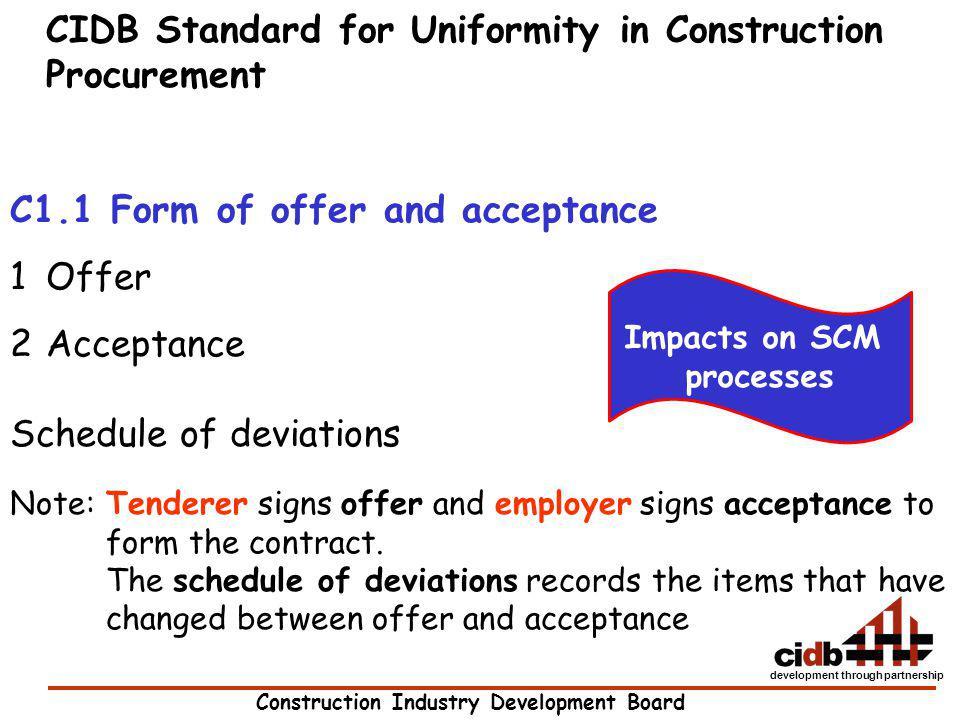 CIDB Standard for Uniformity in Construction Procurement