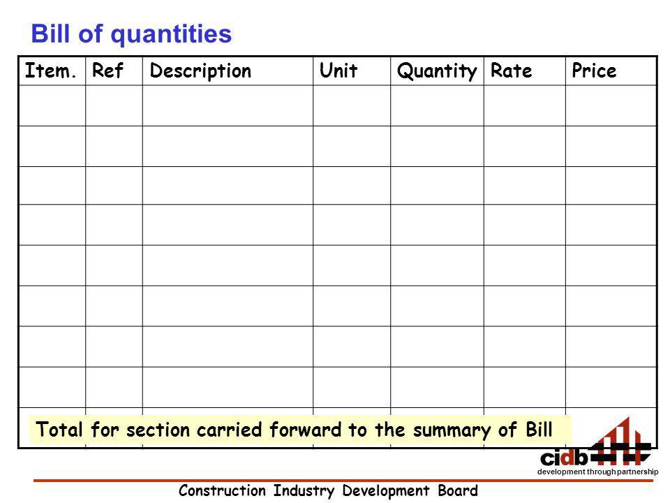 Bill of quantities Item. Ref Description Unit Quantity Rate Price