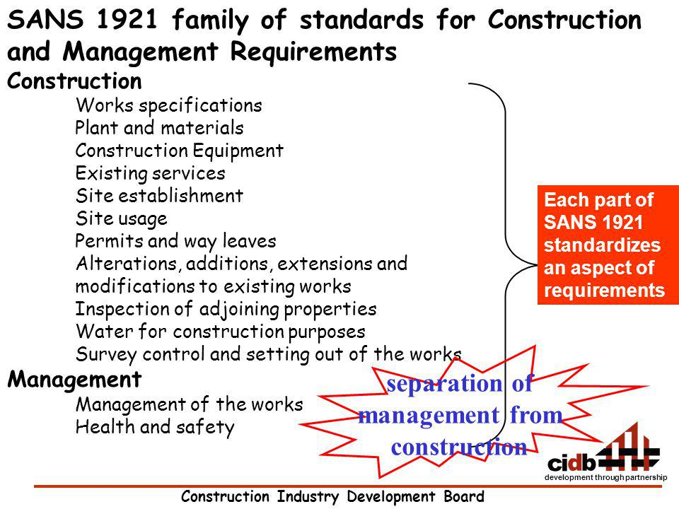 separation of management from construction