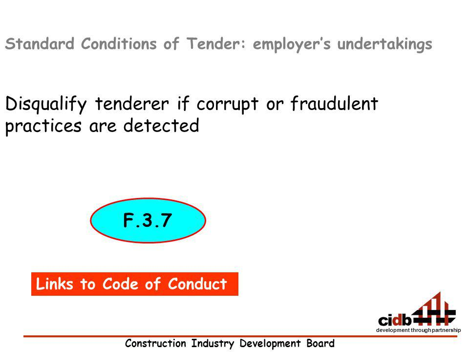 Disqualify tenderer if corrupt or fraudulent practices are detected