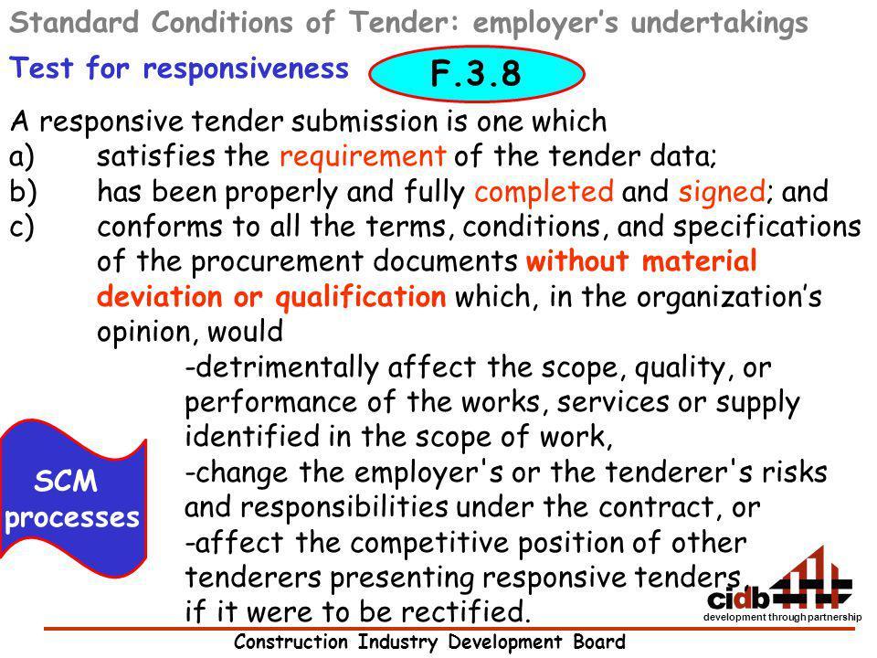 F.3.8 Standard Conditions of Tender: employer's undertakings