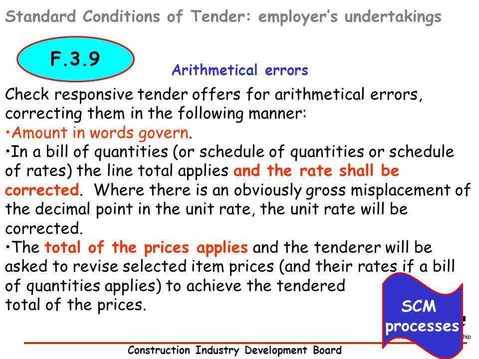F.3.9 Standard Conditions of Tender: employer's undertakings