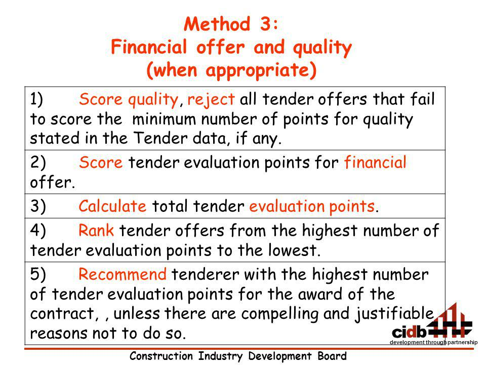 Financial offer and quality