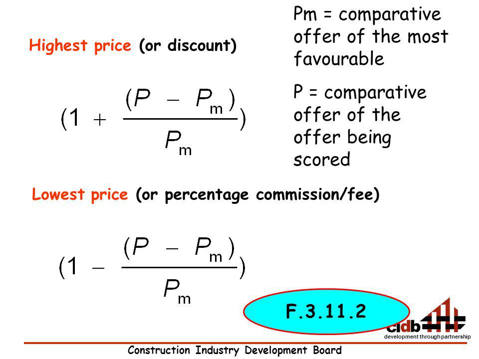 Pm = comparative offer of the most favourable