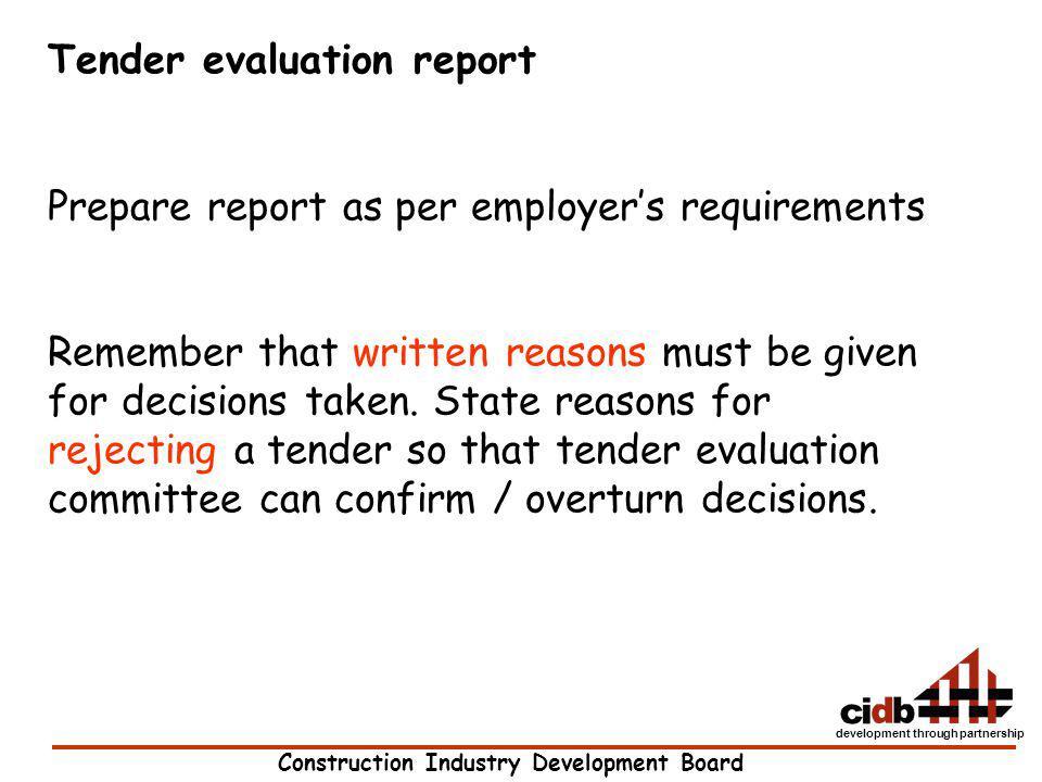 Tender evaluation report