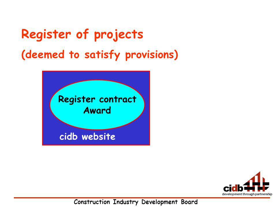Register of projects (deemed to satisfy provisions) Register contract