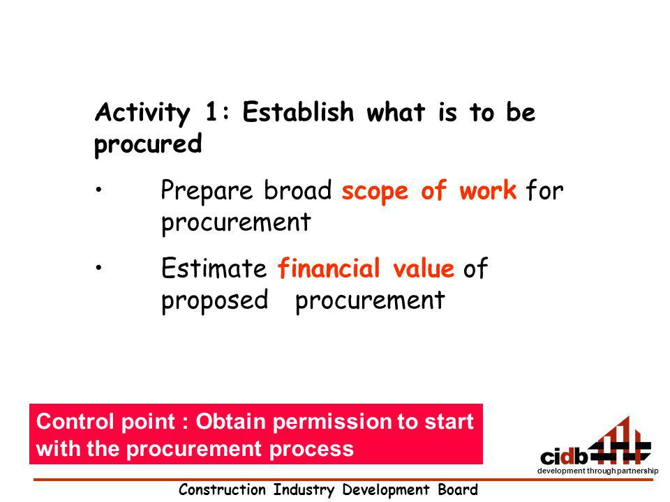 Activity 1: Establish what is to be procured