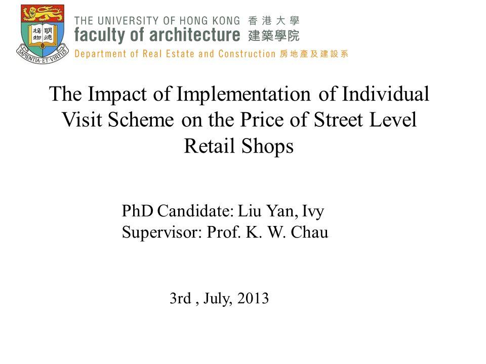 PhD Candidate: Liu Yan, Ivy Supervisor: Prof. K. W. Chau