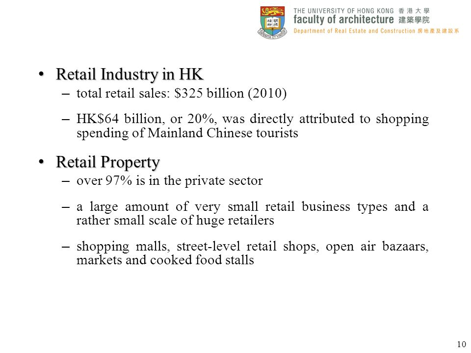 Retail Industry in HK Retail Property
