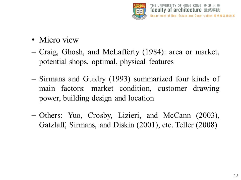 Micro view Craig, Ghosh, and McLafferty (1984): area or market, potential shops, optimal, physical features.