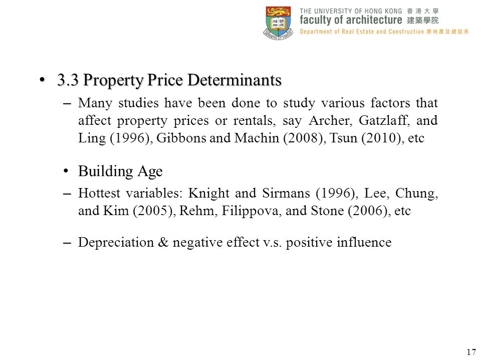 3.3 Property Price Determinants