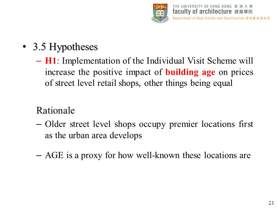 3.5 Hypotheses