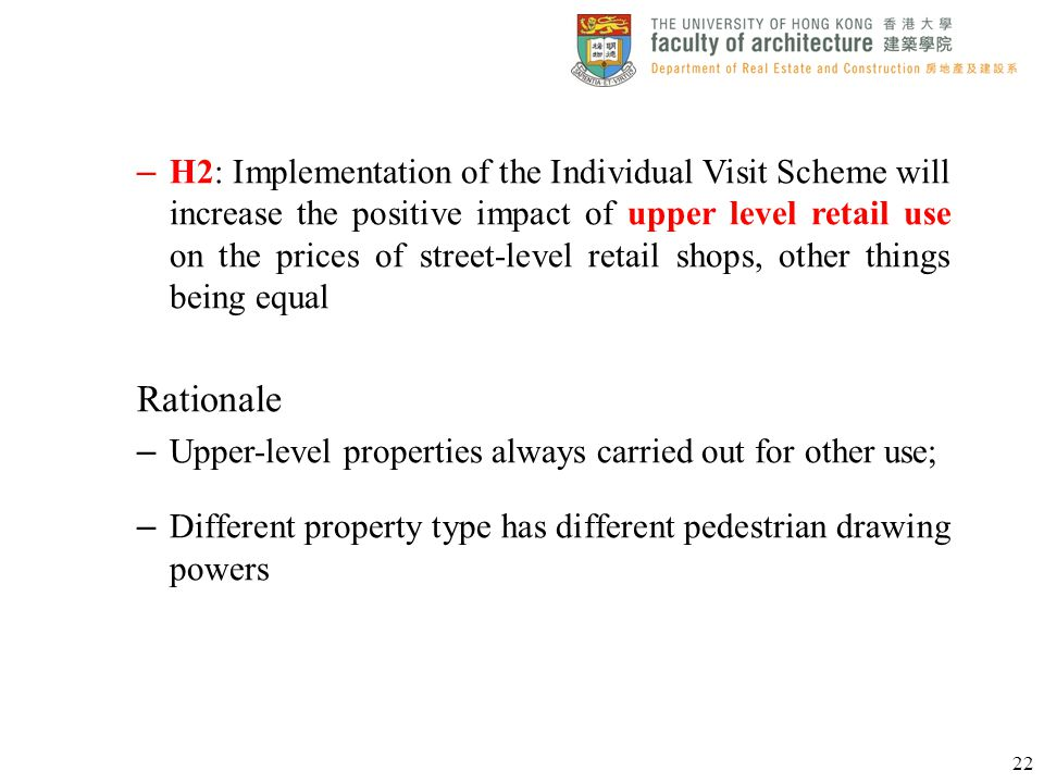 H2: Implementation of the Individual Visit Scheme will increase the positive impact of upper level retail use on the prices of street-level retail shops, other things being equal