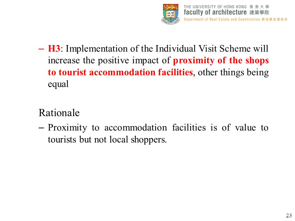 H3: Implementation of the Individual Visit Scheme will increase the positive impact of proximity of the shops to tourist accommodation facilities, other things being equal