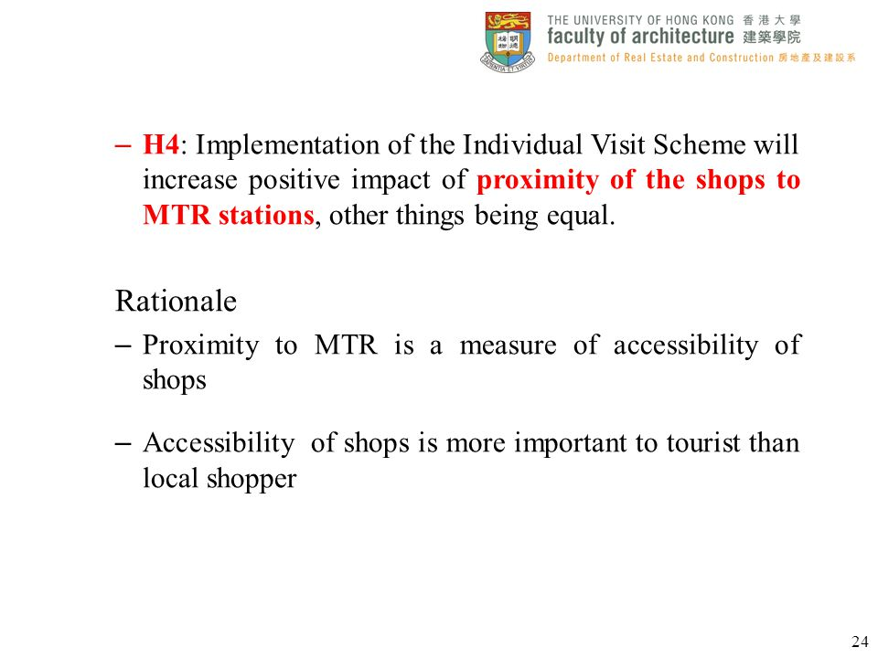 H4: Implementation of the Individual Visit Scheme will increase positive impact of proximity of the shops to MTR stations, other things being equal.