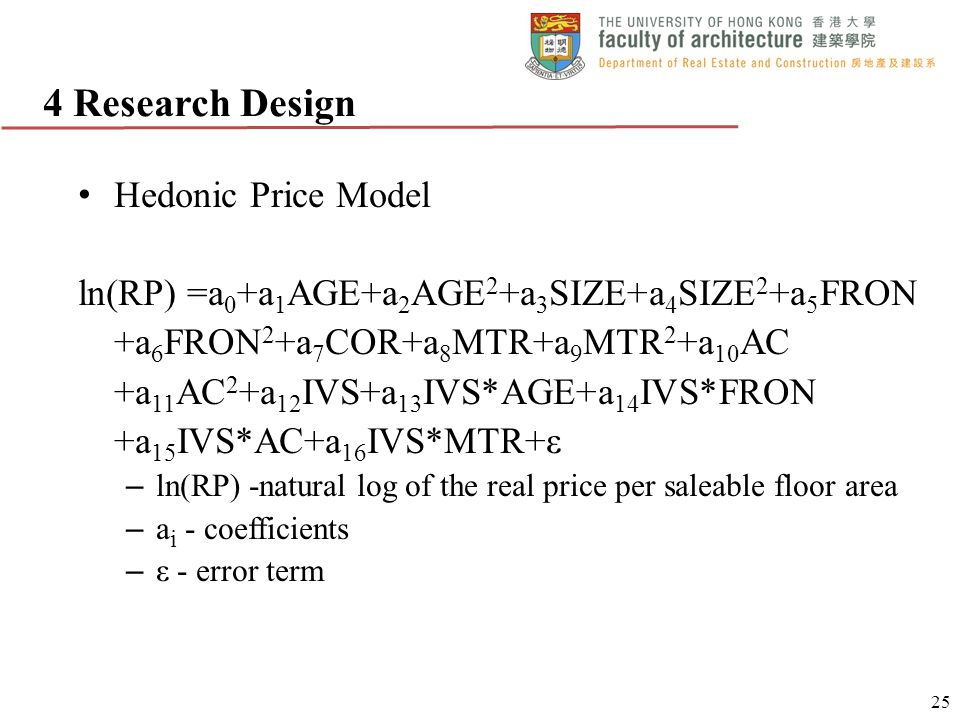 4 Research Design Hedonic Price Model