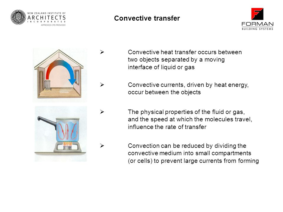 Convective transfer Convective heat transfer occurs between two objects separated by a moving interface of liquid or gas.