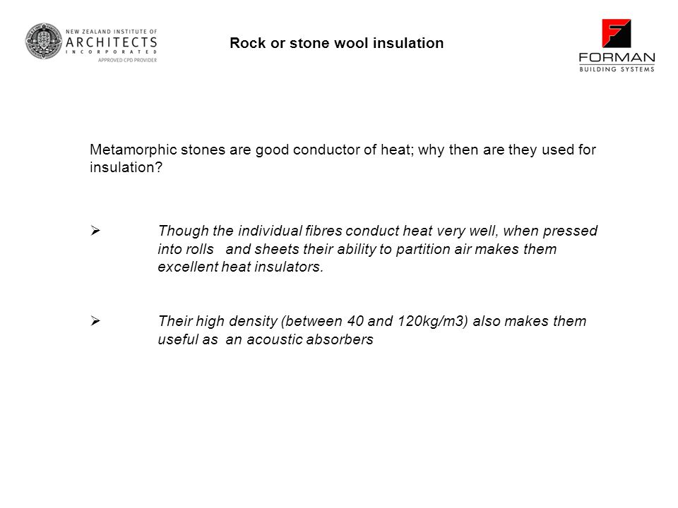 Rock or stone wool insulation