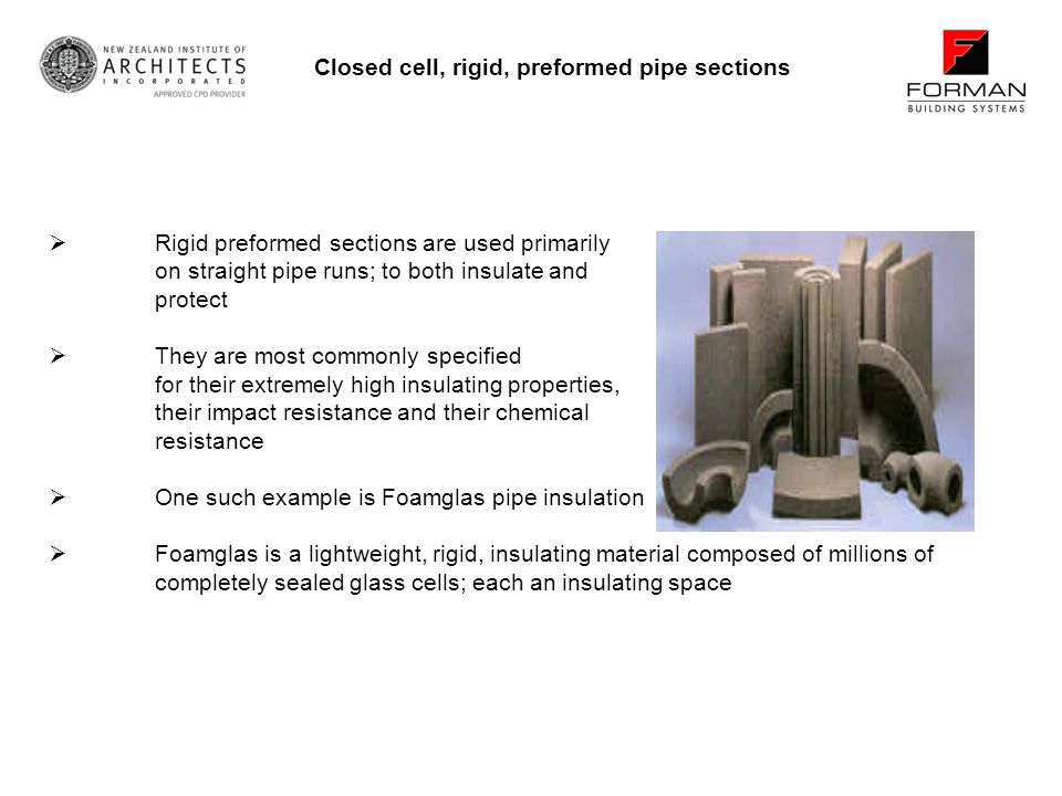 Closed cell, rigid, preformed pipe sections