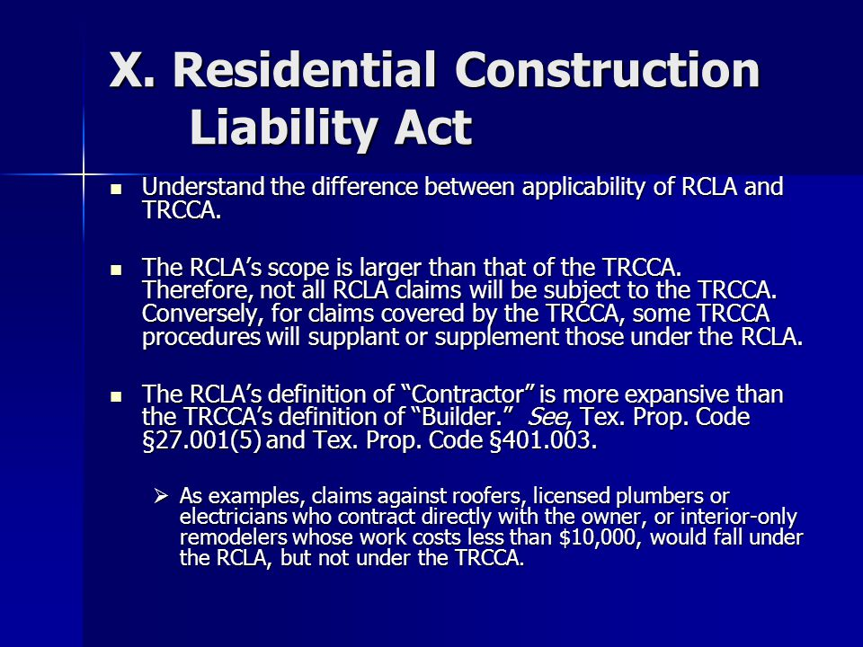 X. Residential Construction Liability Act