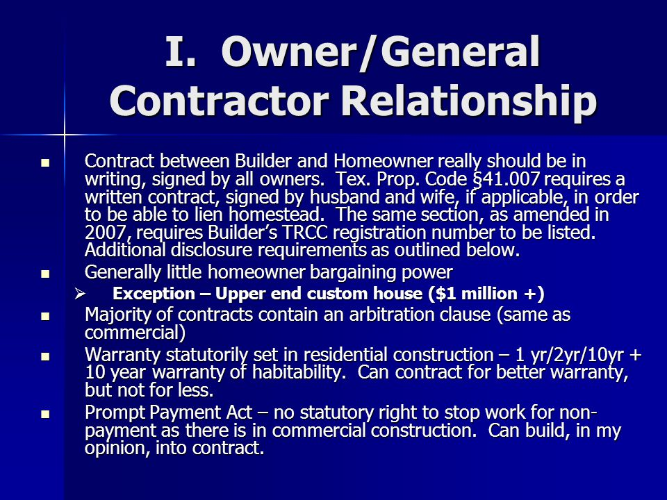 I. Owner/General Contractor Relationship