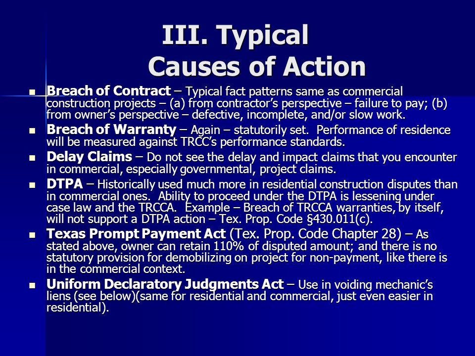 III. Typical Causes of Action
