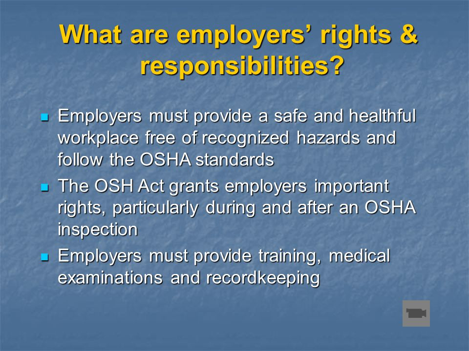 What are employers' rights & responsibilities