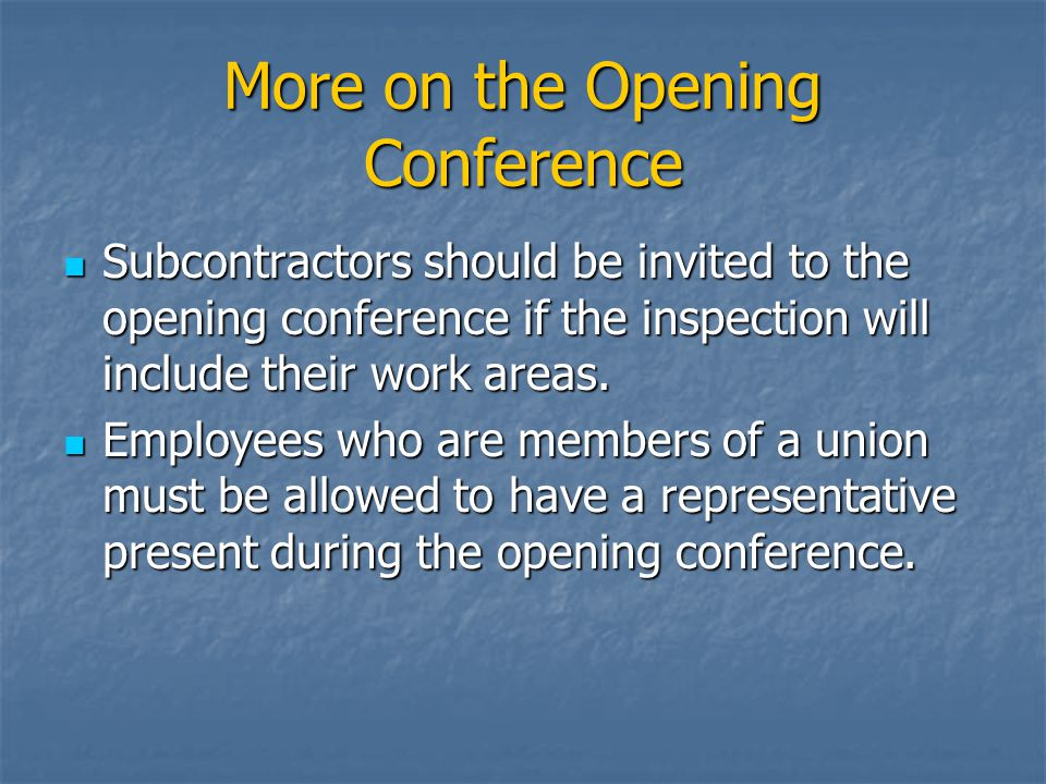 More on the Opening Conference