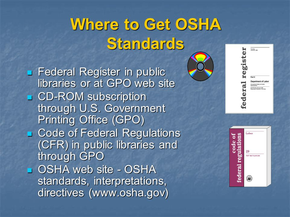 Where to Get OSHA Standards