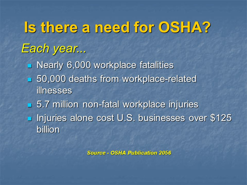 Is there a need for OSHA Each year...