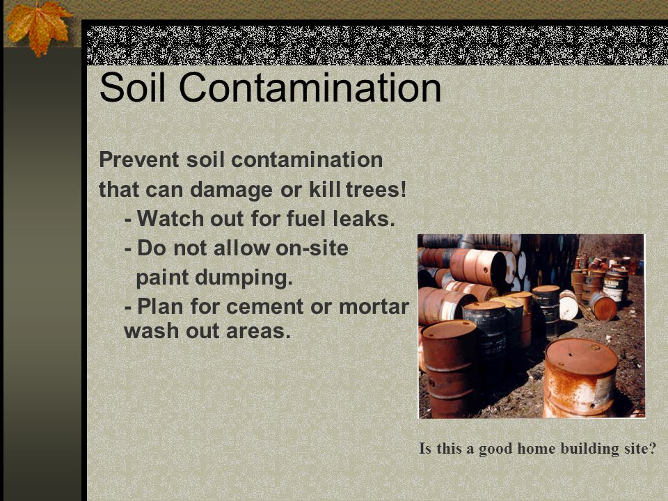 Soil Contamination Prevent soil contamination