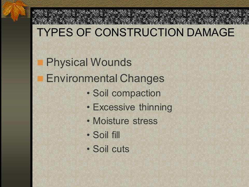 TYPES OF CONSTRUCTION DAMAGE