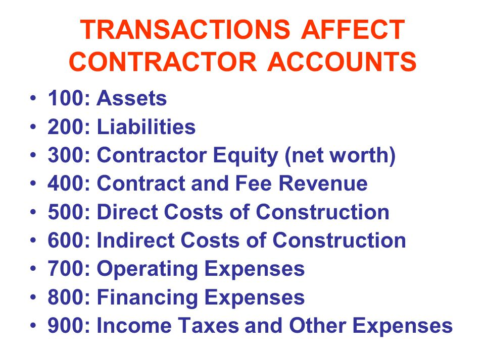 TRANSACTIONS AFFECT CONTRACTOR ACCOUNTS
