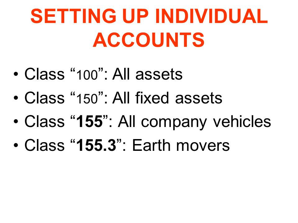 SETTING UP INDIVIDUAL ACCOUNTS