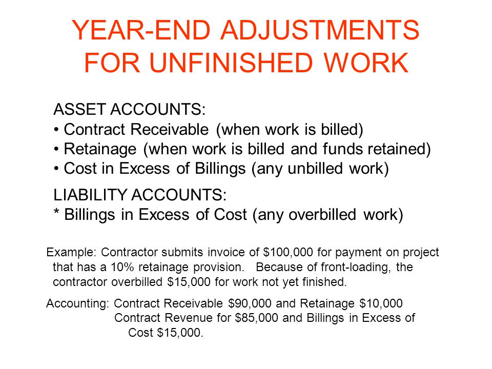 YEAR-END ADJUSTMENTS FOR UNFINISHED WORK