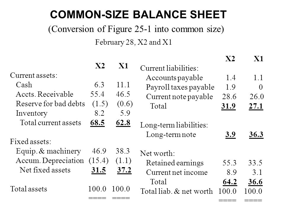 COMMON-SIZE BALANCE SHEET