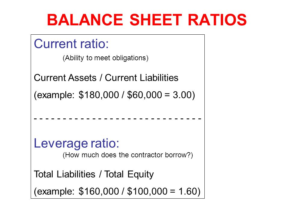 BALANCE SHEET RATIOS Current ratio: Leverage ratio: