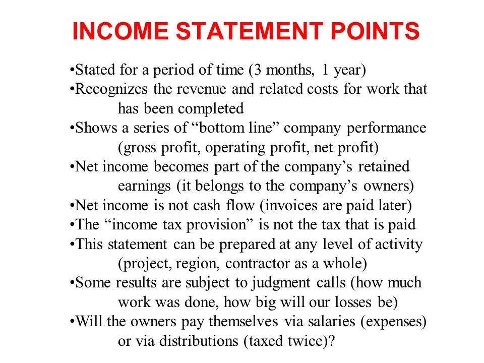 INCOME STATEMENT POINTS