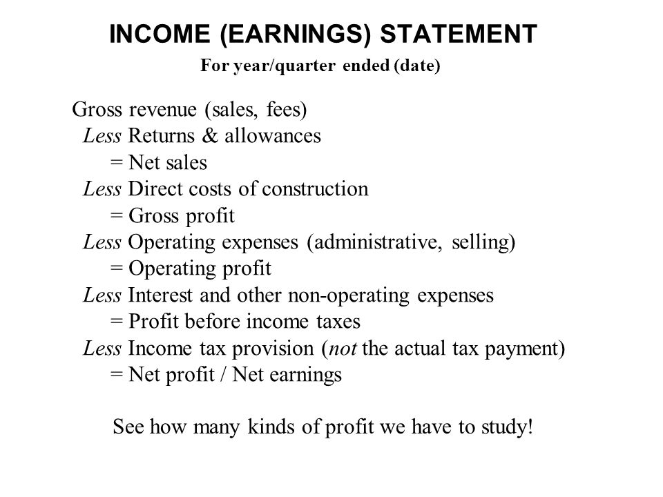 INCOME (EARNINGS) STATEMENT