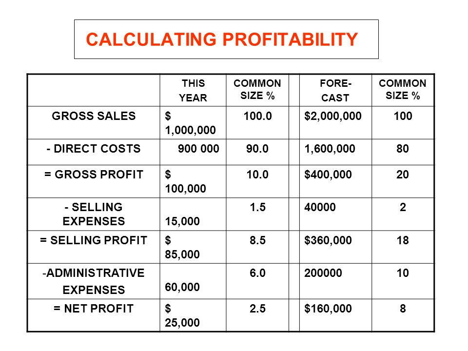 CALCULATING PROFITABILITY