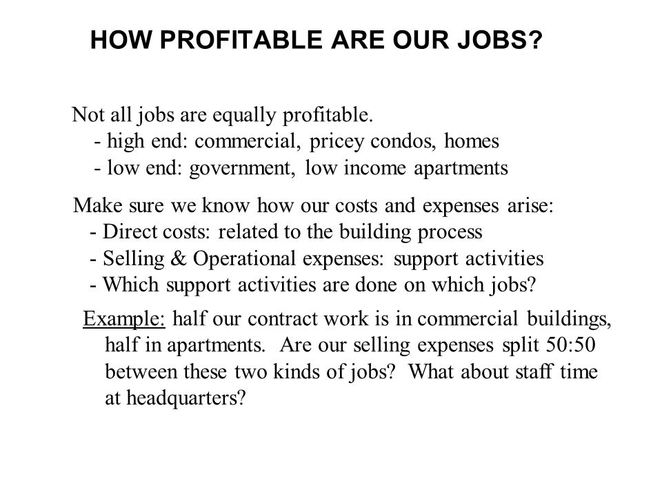 HOW PROFITABLE ARE OUR JOBS
