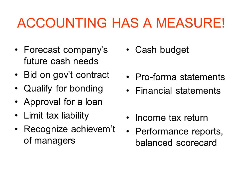 ACCOUNTING HAS A MEASURE!