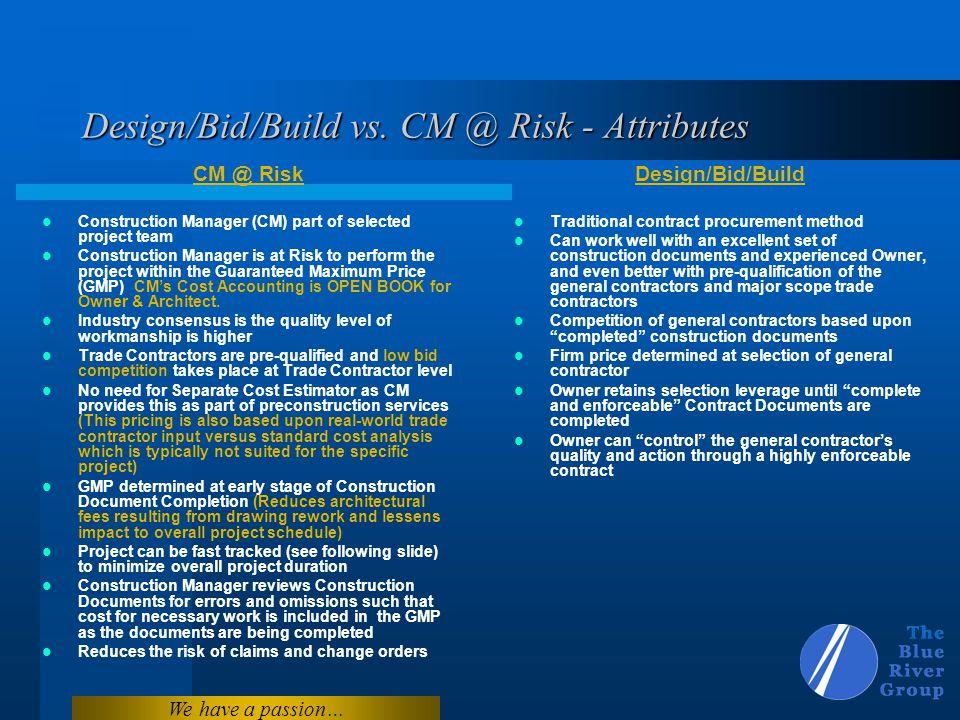 Design/Bid/Build vs. CM @ Risk - Attributes