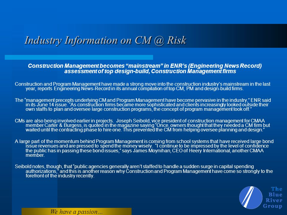 Industry Information on CM @ Risk