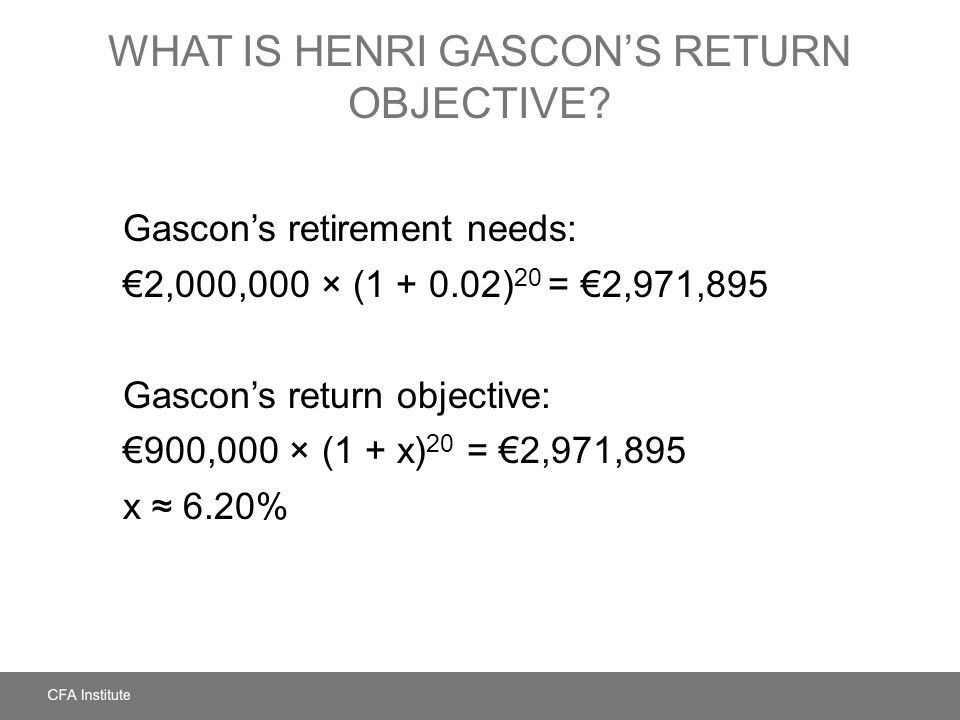 What Is Henri Gascon's Return Objective