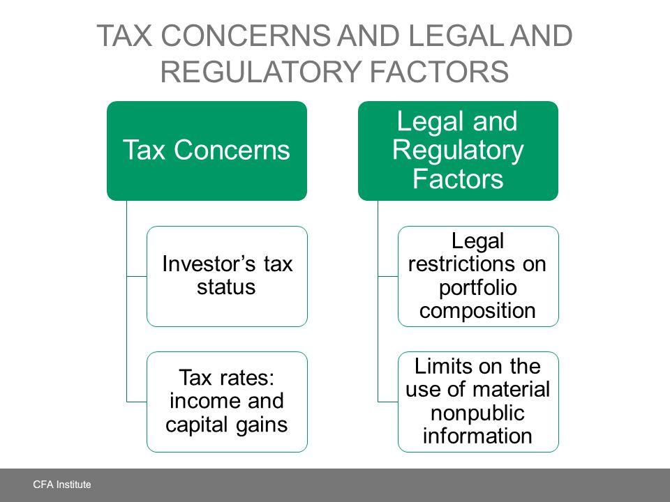 Tax Concerns and Legal and Regulatory Factors