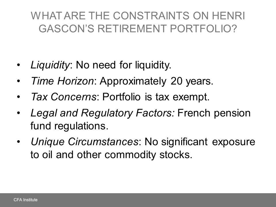 What Are the Constraints on Henri Gascon's Retirement Portfolio