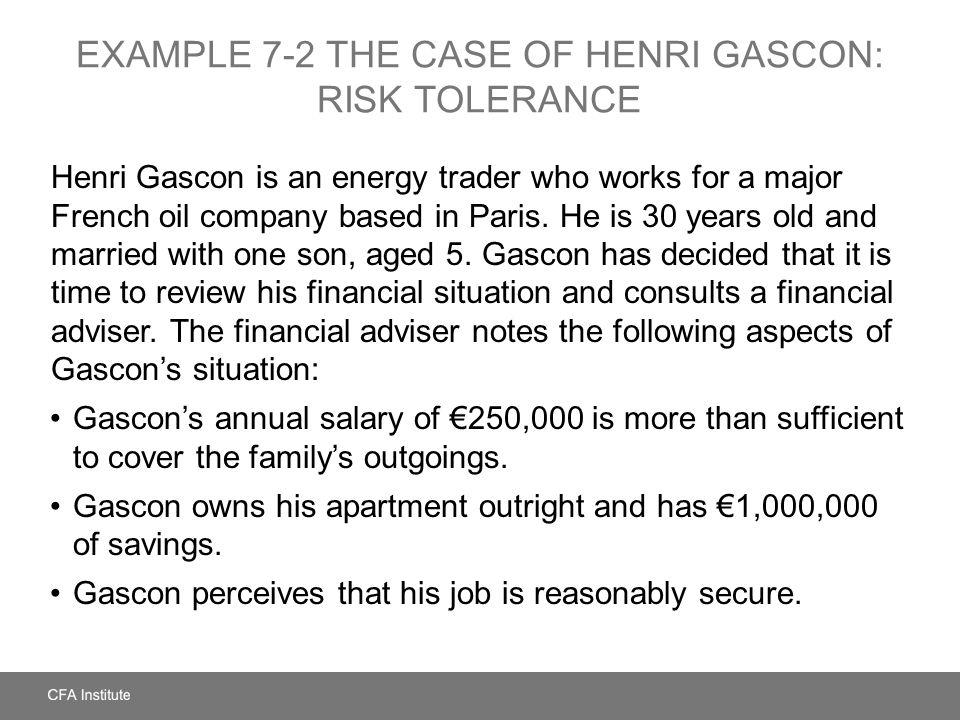 EXAMPLE 7-2 The Case of Henri Gascon: Risk Tolerance