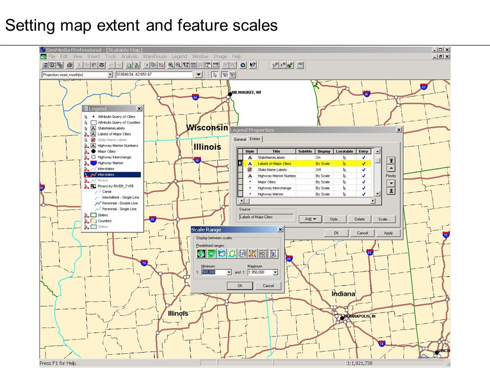 Setting map extent and feature scales