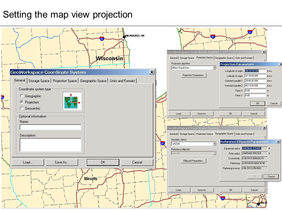 Setting the map view projection
